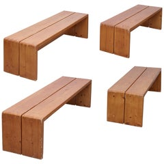 Set of Four Charlotte Perriand Large Wood Benches for Les Arcs, circa 1960
