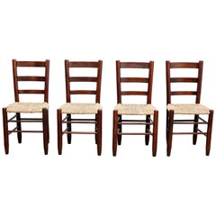 Set of Four Charlotte Perriand Mid-Century Modern Wood Rattan FrenchNº 19 Chairs