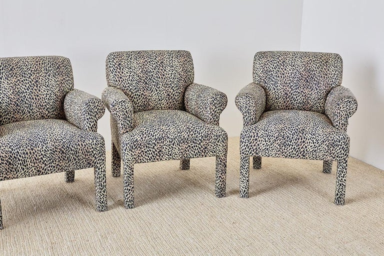 Set Of Four Cheetah Leopard Upholstered Club Chairs For
