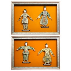 Set of Four Chinese 19th-20th Century Henan Opera Dolls in Twin Display Cases