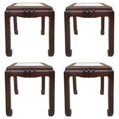 Set of Four Chinese Art Deco Huali Stools or Side Tables