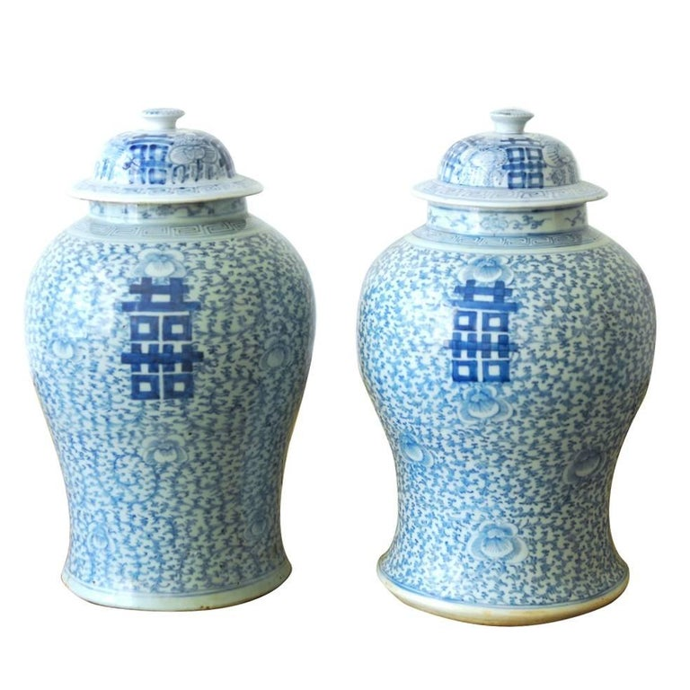 Pair Of Chinese Blue And White Ginger Jar Vases For Sale At 1stdibs