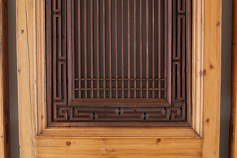 Set of Four Chinese Carved Elm Lattice Door Panels For Sale 5