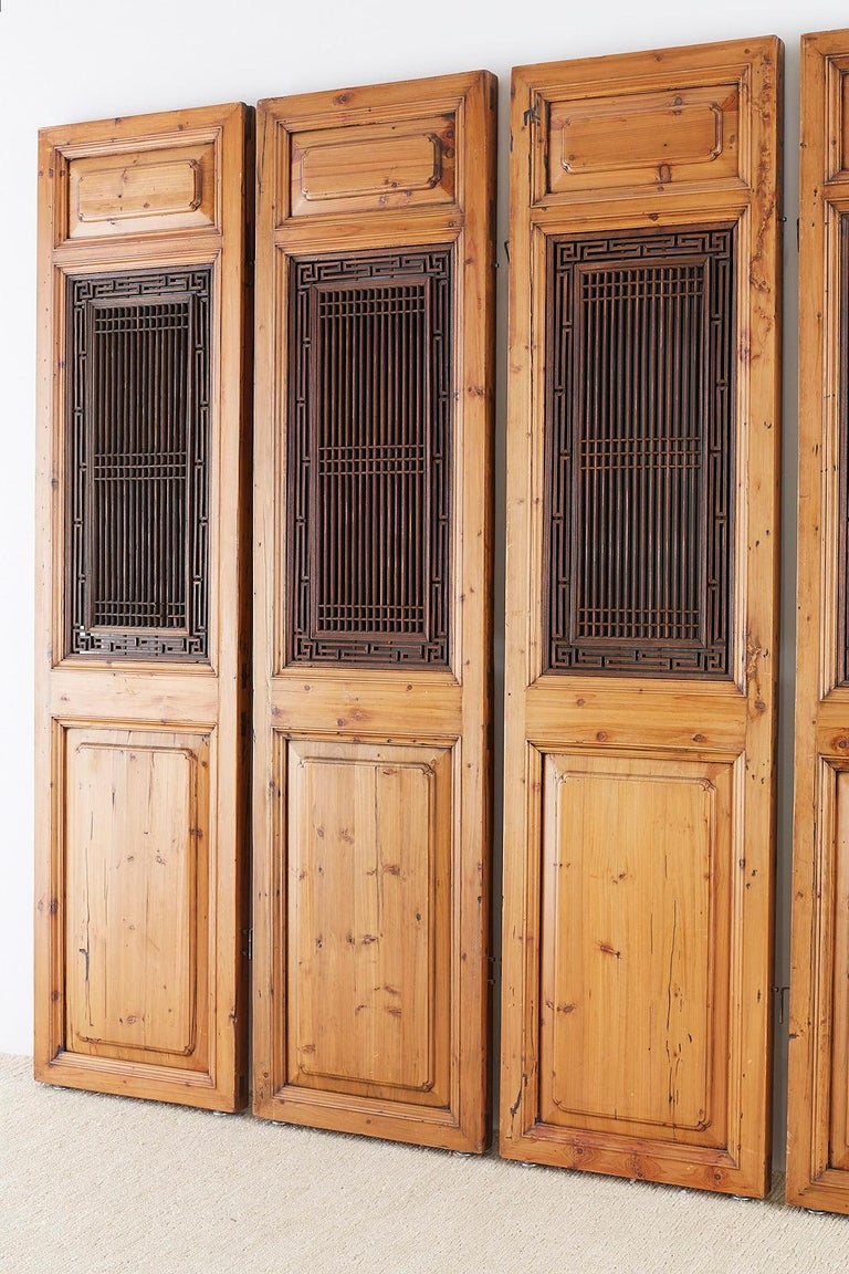Set of Four Chinese Carved Elm Lattice Door Panels For Sale 6