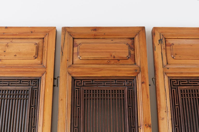 Set of Four Chinese Carved Elm Lattice Door Panels For Sale 7