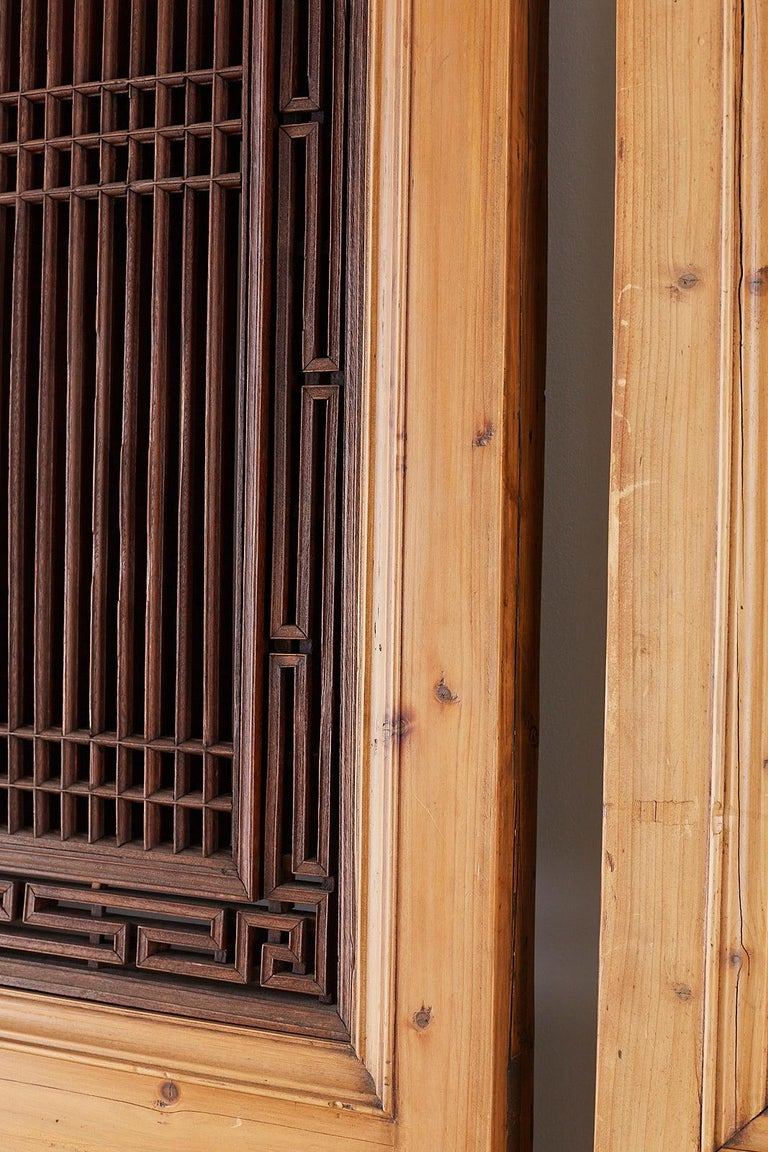 Set of Four Chinese Carved Elm Lattice Door Panels For Sale 8