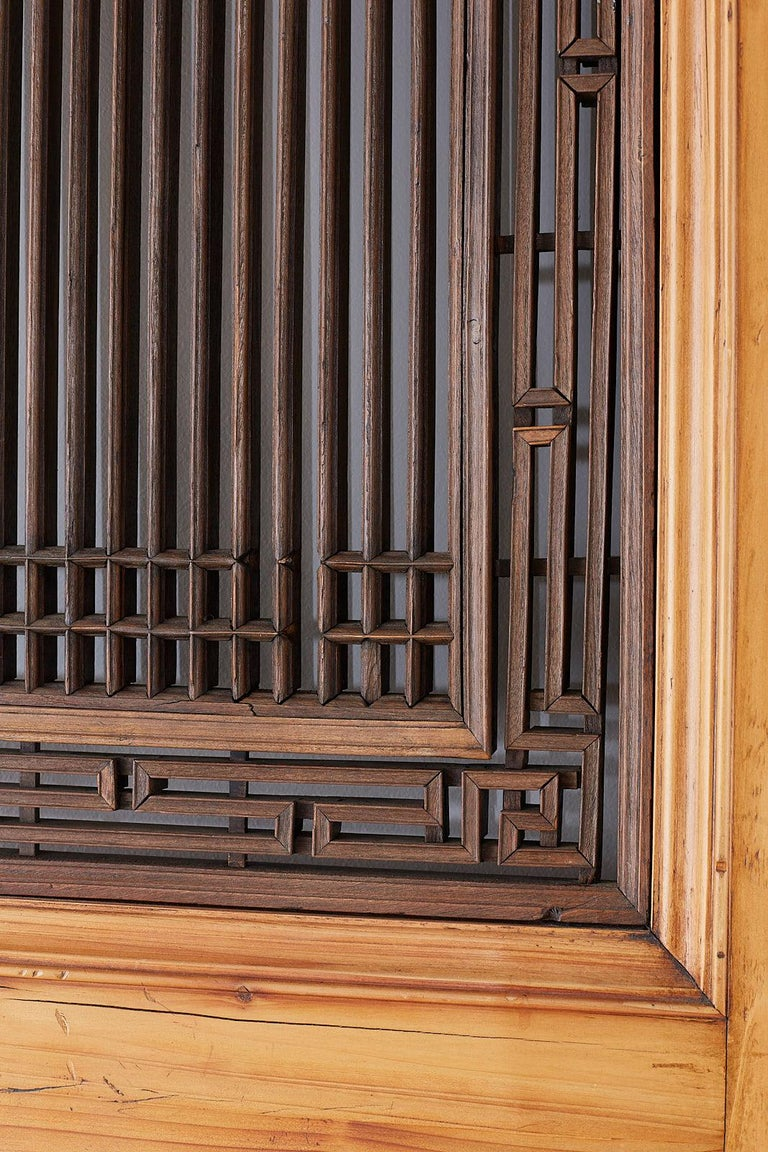 Set of Four Chinese Carved Elm Lattice Door Panels For Sale 10