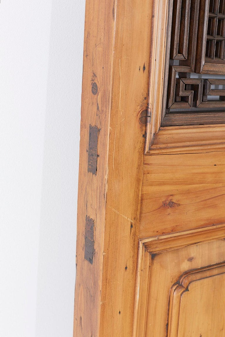 Set of Four Chinese Carved Elm Lattice Door Panels For Sale 12