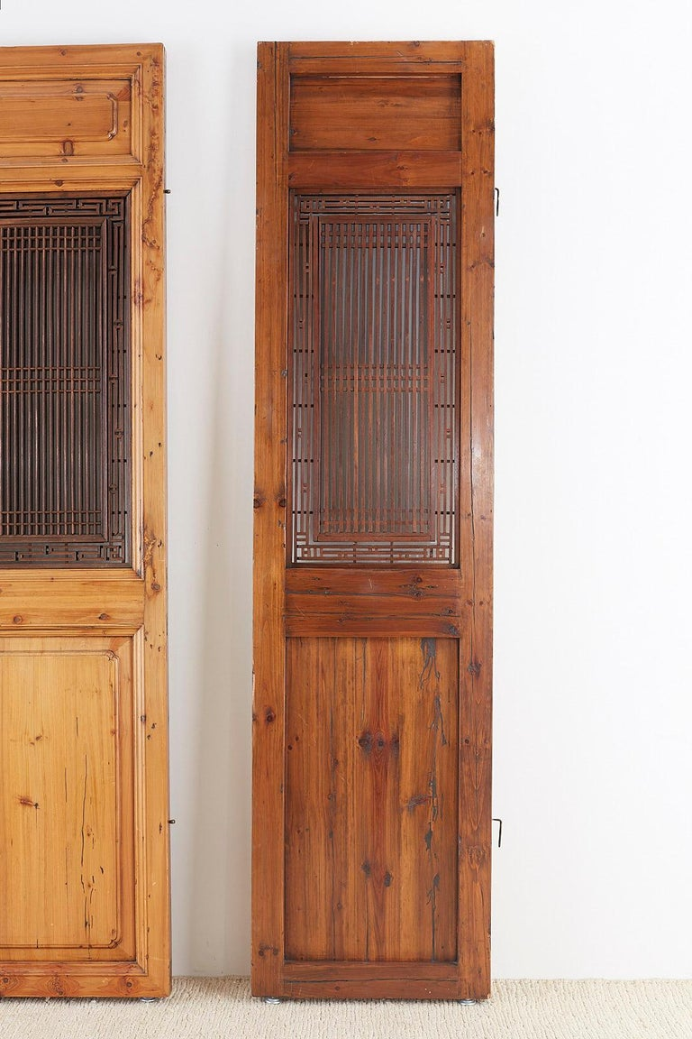 Set of Four Chinese Carved Elm Lattice Door Panels For Sale 13