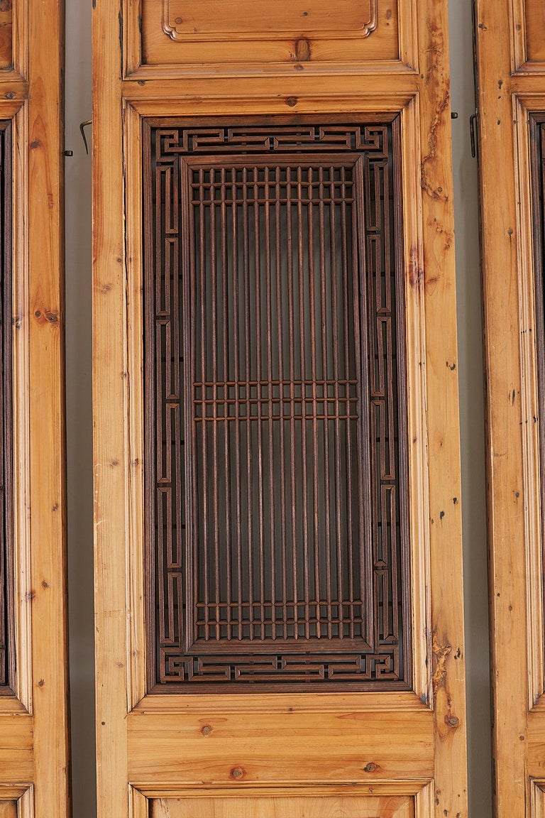 19th Century Set of Four Chinese Carved Elm Lattice Door Panels For Sale