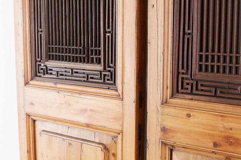 Set of Four Chinese Carved Elm Lattice Door Panels For Sale 2