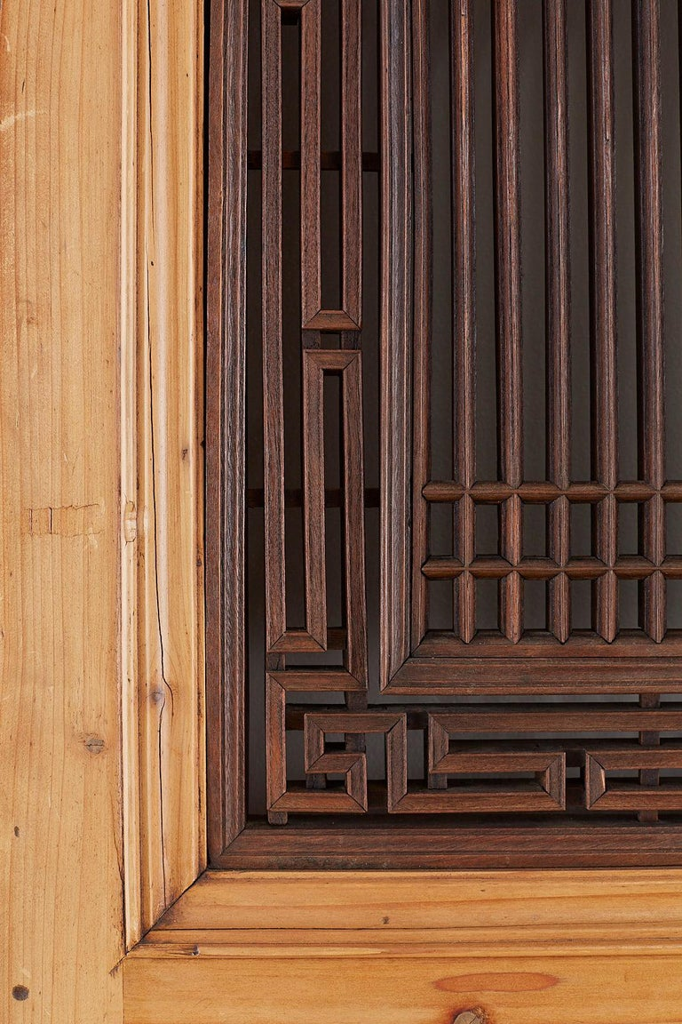 Set of Four Chinese Carved Elm Lattice Door Panels For Sale 3