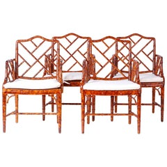 Set of Four Chinese Chippendale Armchairs