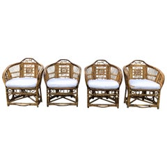 Set of Four Chinese Chippendale Style Bamboo Chairs