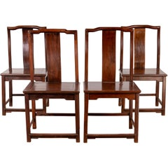 Set of Four Chinese Elmwood Dark Patina Scholar's Ceremonial Side Chairs