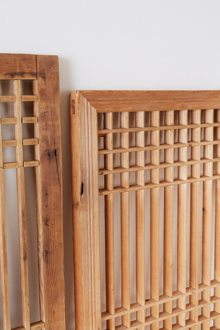 Set of Four Chinese Geometric Lattice Window Panels For Sale 4