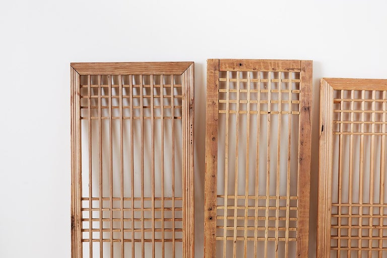 Set of Four Chinese Geometric Lattice Window Panels For Sale 5