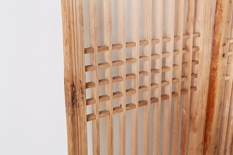 Set of Four Chinese Geometric Lattice Window Panels For Sale 6