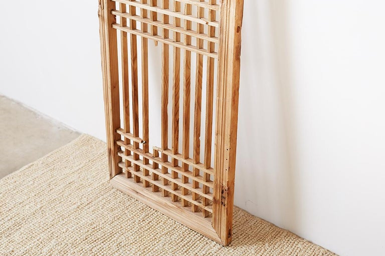 Set of Four Chinese Geometric Lattice Window Panels For Sale 7