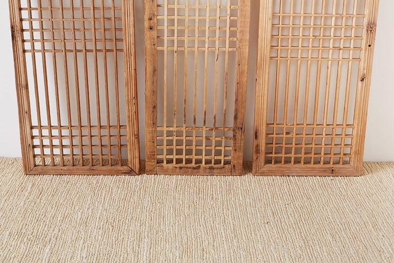 Set of Four Chinese Geometric Lattice Window Panels For Sale 8