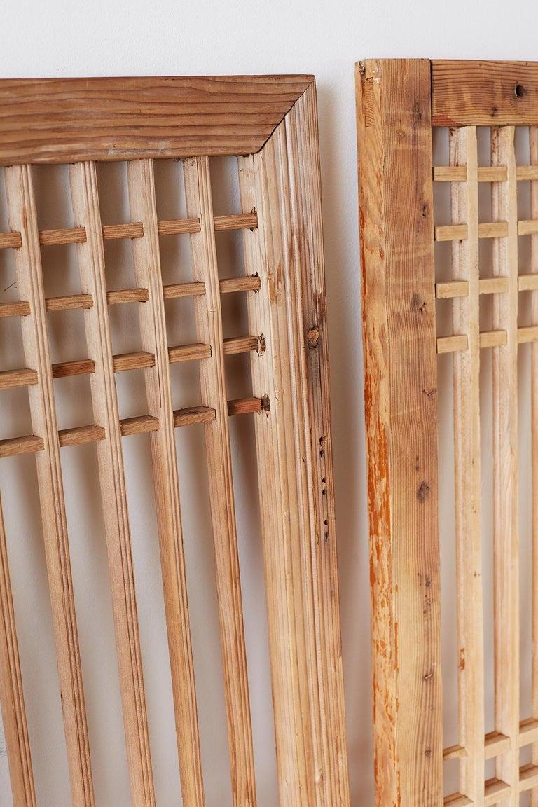 Set of Four Chinese Geometric Lattice Window Panels For Sale 12