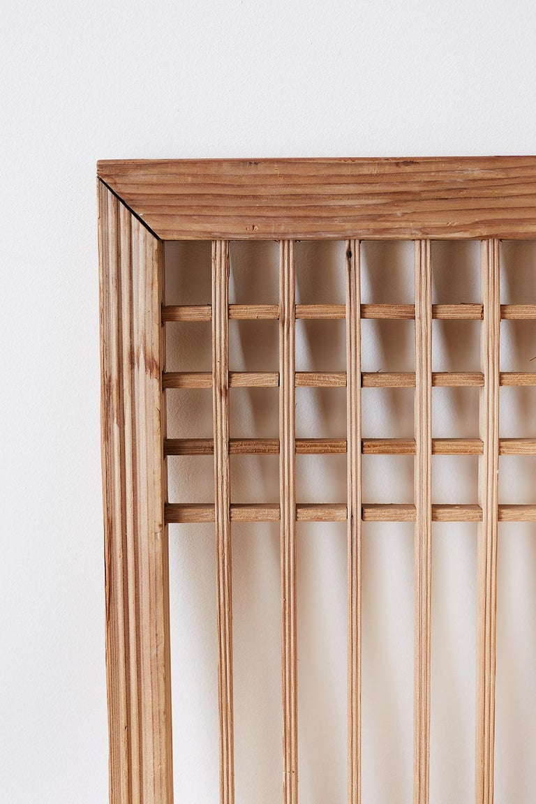 Set of Four Chinese Geometric Lattice Window Panels For Sale 13