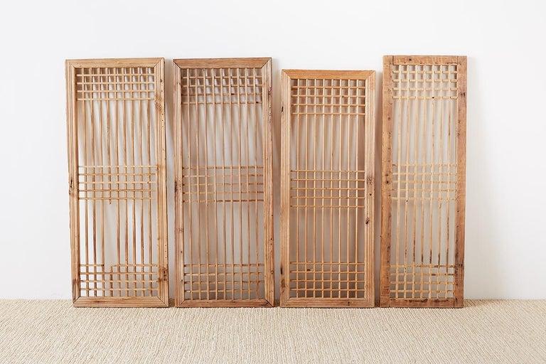 Ming Set of Four Chinese Geometric Lattice Window Panels For Sale