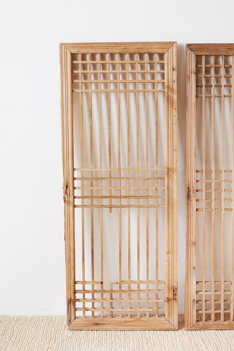 Hand-Crafted Set of Four Chinese Geometric Lattice Window Panels For Sale
