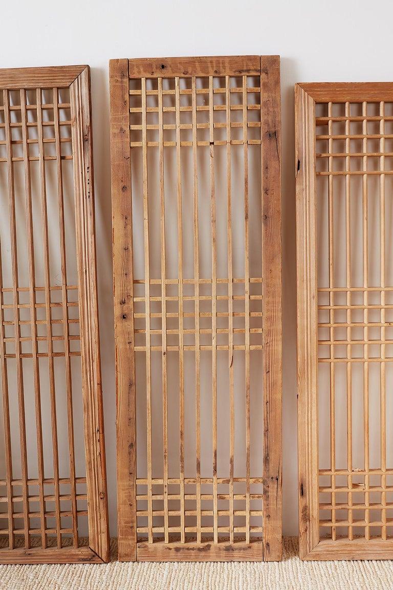 20th Century Set of Four Chinese Geometric Lattice Window Panels For Sale