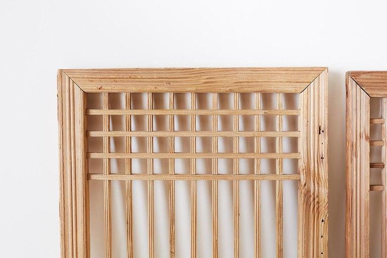 Set of Four Chinese Geometric Lattice Window Panels For Sale 1