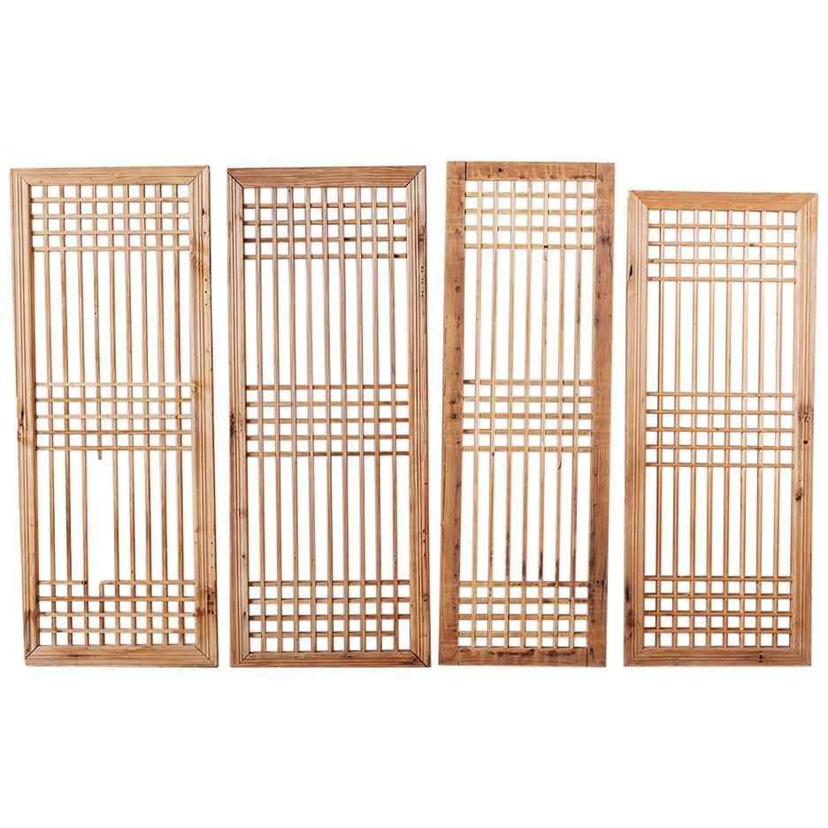 Set of Four Chinese Geometric Lattice Window Panels