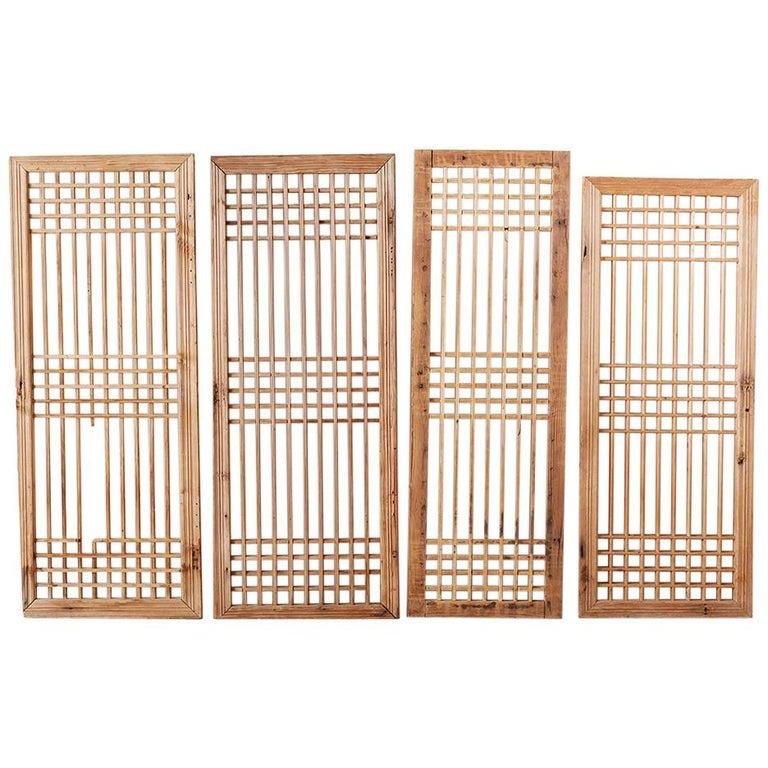 Set of Four Chinese Geometric Lattice Window Panels For Sale