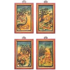 Set of Four Chinese Mythological Painted Panels