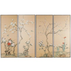 Set of Four Chinese Painted Silk Bird and Flower Panels