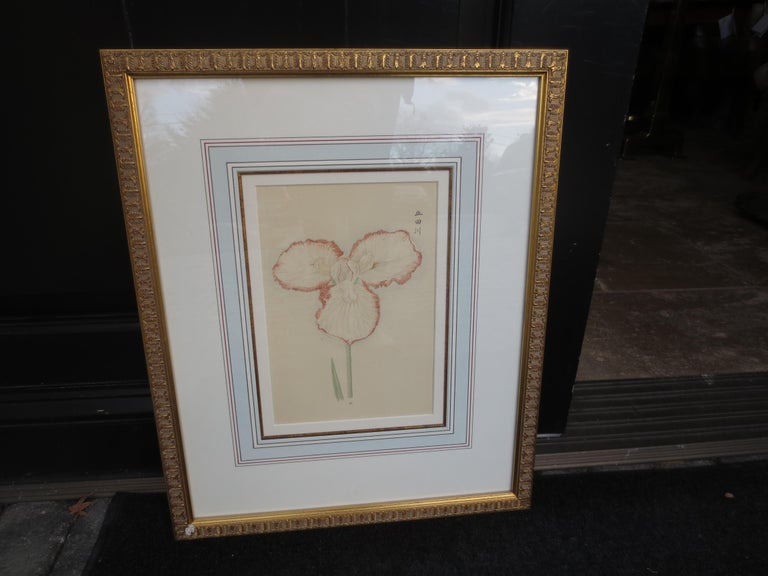 Set of four framed 19th-20th century Chinese watercolor flowers with numbered plates on English mats.