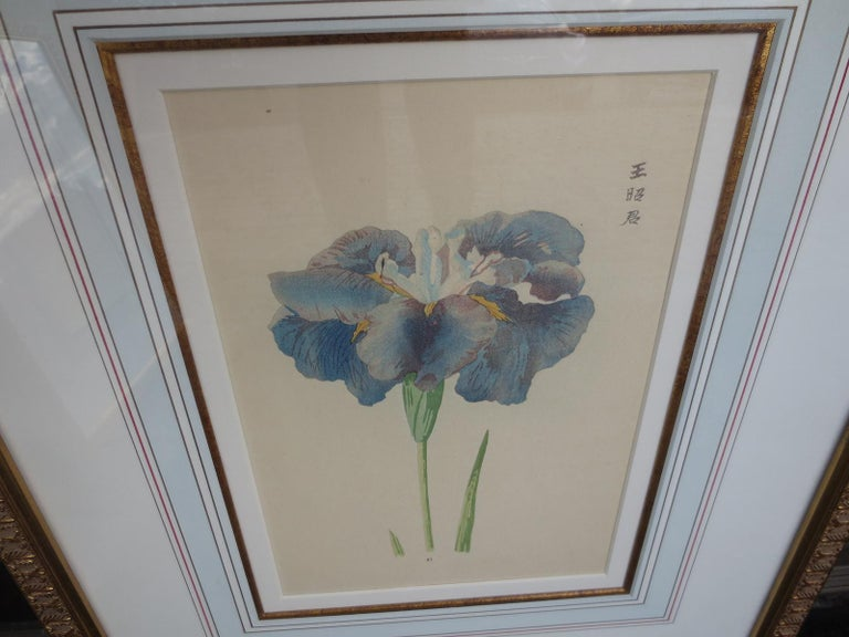 Paint Set of Four Chinese Watercolor Flowers with Numbered Plates on English Mats For Sale