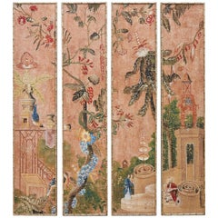 Set of Four Chinoiserie Painted Faux Bamboo Panels