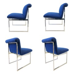 Set of Four Chrome and Blue Fabric Dining Chairs