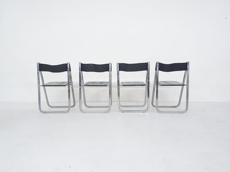"Mid-Century Modern Set of Four Chrome and Leather ""Tamara"" Folding Chairs by Arrben, Italy, 1970s For Sale"