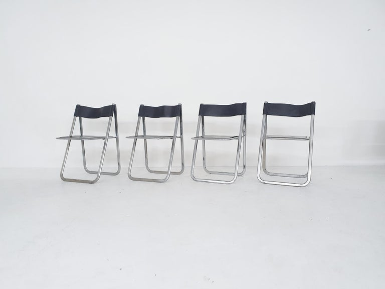 "Italian Set of Four Chrome and Leather ""Tamara"" Folding Chairs by Arrben, Italy, 1970s For Sale"