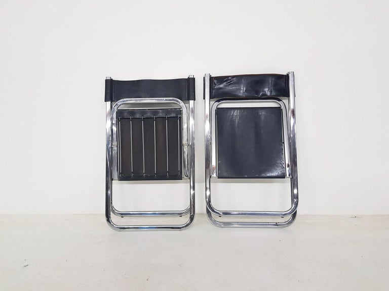 "Late 20th Century Set of Four Chrome and Leather ""Tamara"" Folding Chairs by Arrben, Italy, 1970s For Sale"