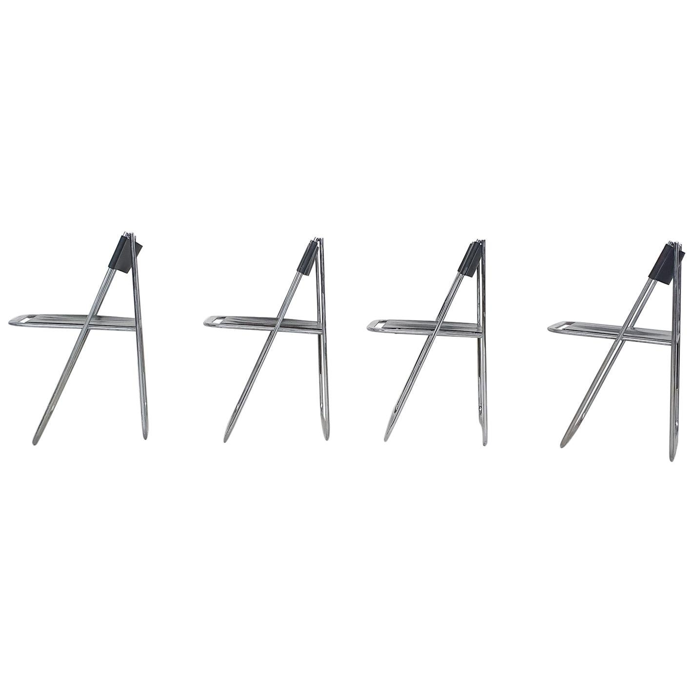 """Set of Four Chrome and Leather """"Tamara"""" Folding Chairs by Arrben, Italy, 1970s"""