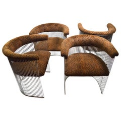 Set of Four Chrome Chairs with Cheetah Print Upholstery