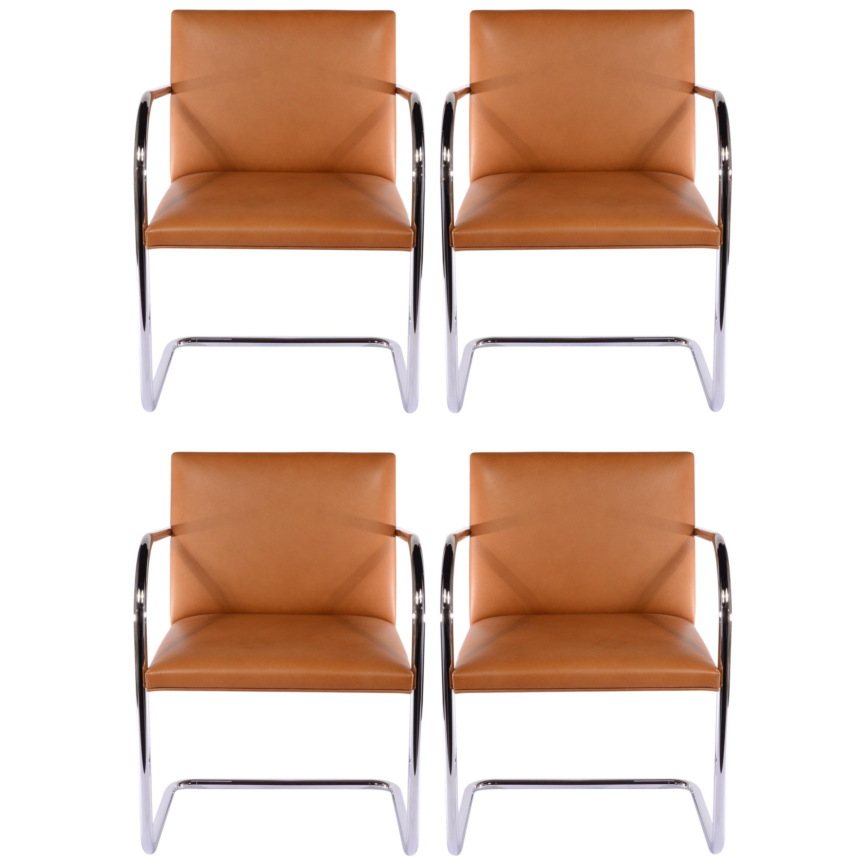 Set of Four Chrome Tubular Brno Chairs by Knoll