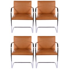 Set of Four Chrome Tubular Brno Chairs by Knoll