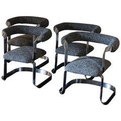 Set of Four Chromed Dining Chairs, Black/White/Grey Woven Fabric, Italy, 1970s