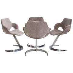 Set of Four Chromed Steel Dining Chairs by Boris Tabacoff