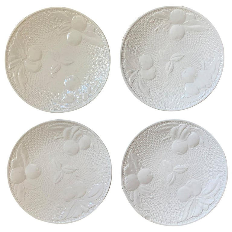 Set of Four circa 1950s White Ceramic Embossed Fruit Plates by Ed Langbein For Sale