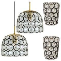 Set of Four Circle Iron and Bubble Glass Sconces Light Fixtures, Glashütte, 1960
