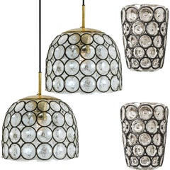 Set of Four Circle Iron and Bubble Glass Sconces Light Fixtures, Glashütte, 1960